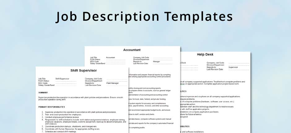 Job description template for Creating a job description template